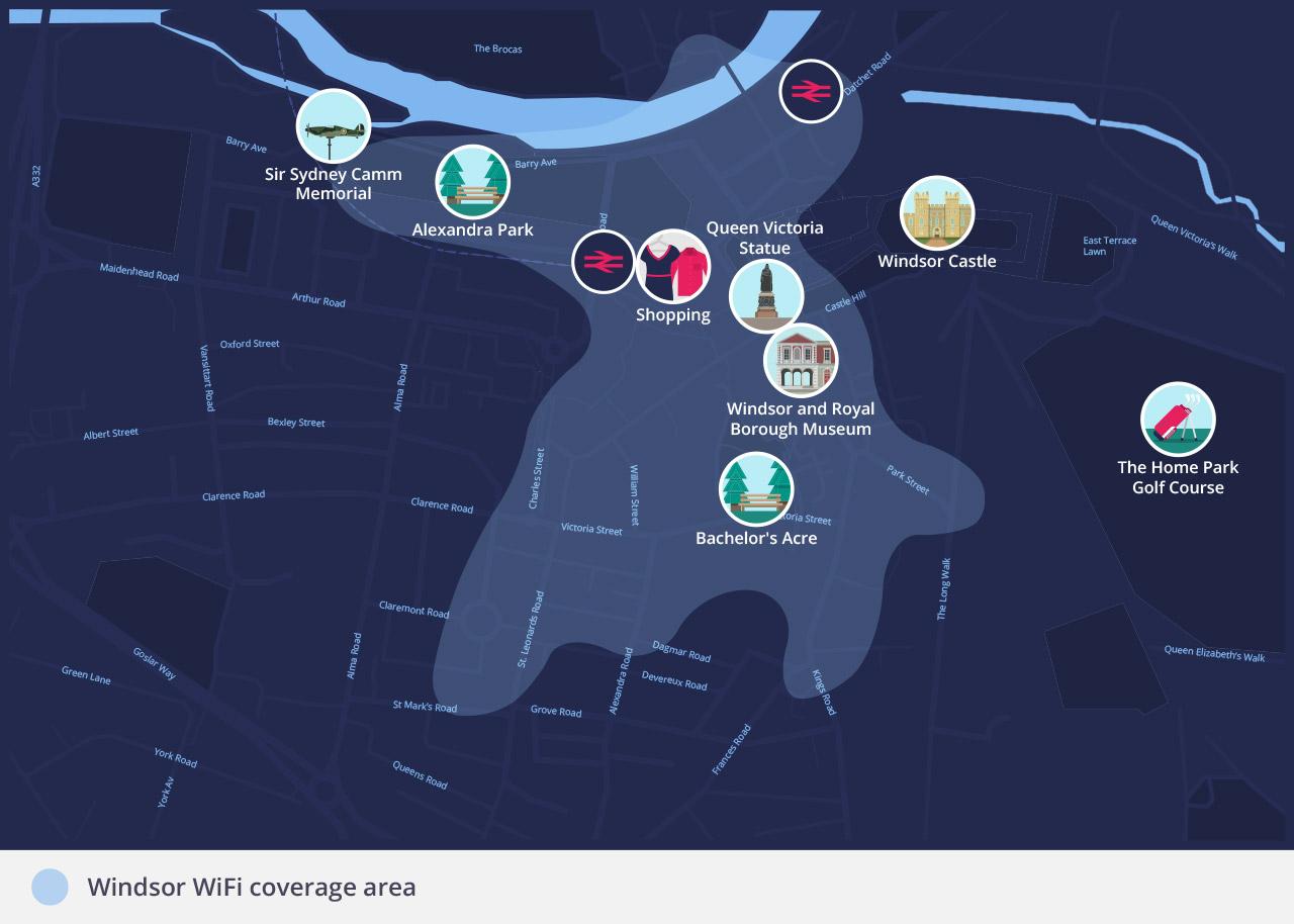 RBWMFreeWiFi - Windsor free WiFi coverage area