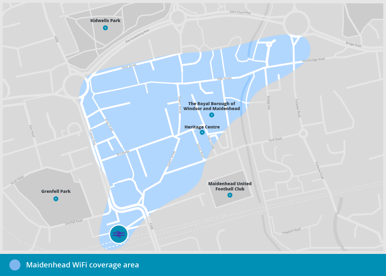 RBWMFreeWiFi - Maidenhead free WiFi coverage area